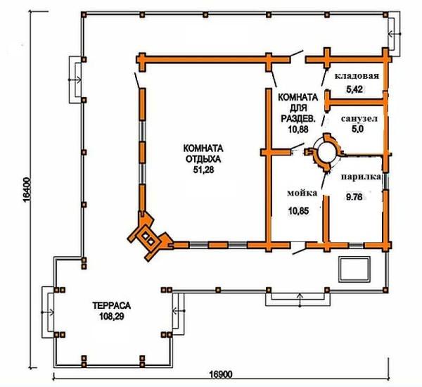 Проекты бани с террасой ( верандой ) и барбекю: фото и планировка